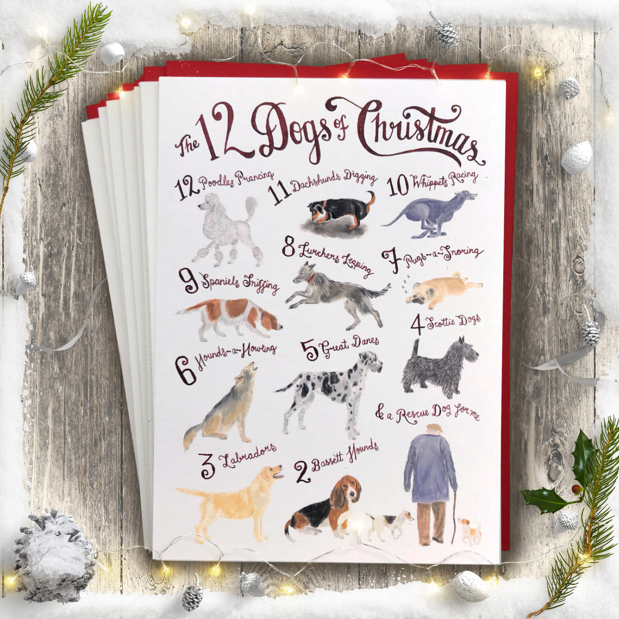 12 Dogs of Christmas Card PACK OF 10