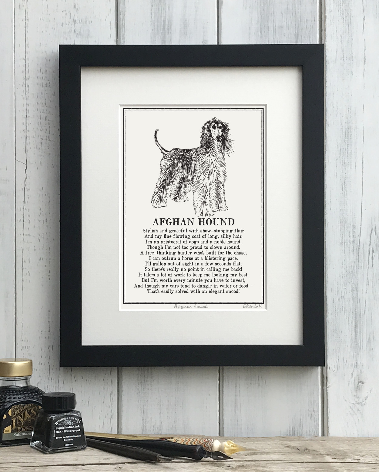 Afghan Hound Doggerel Illustrated Poem Art Print | The Enlightened Hound