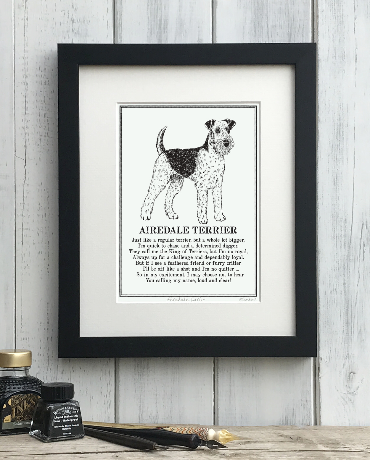 Airedale Terrier print illustrated poem by The Enlightened Hound