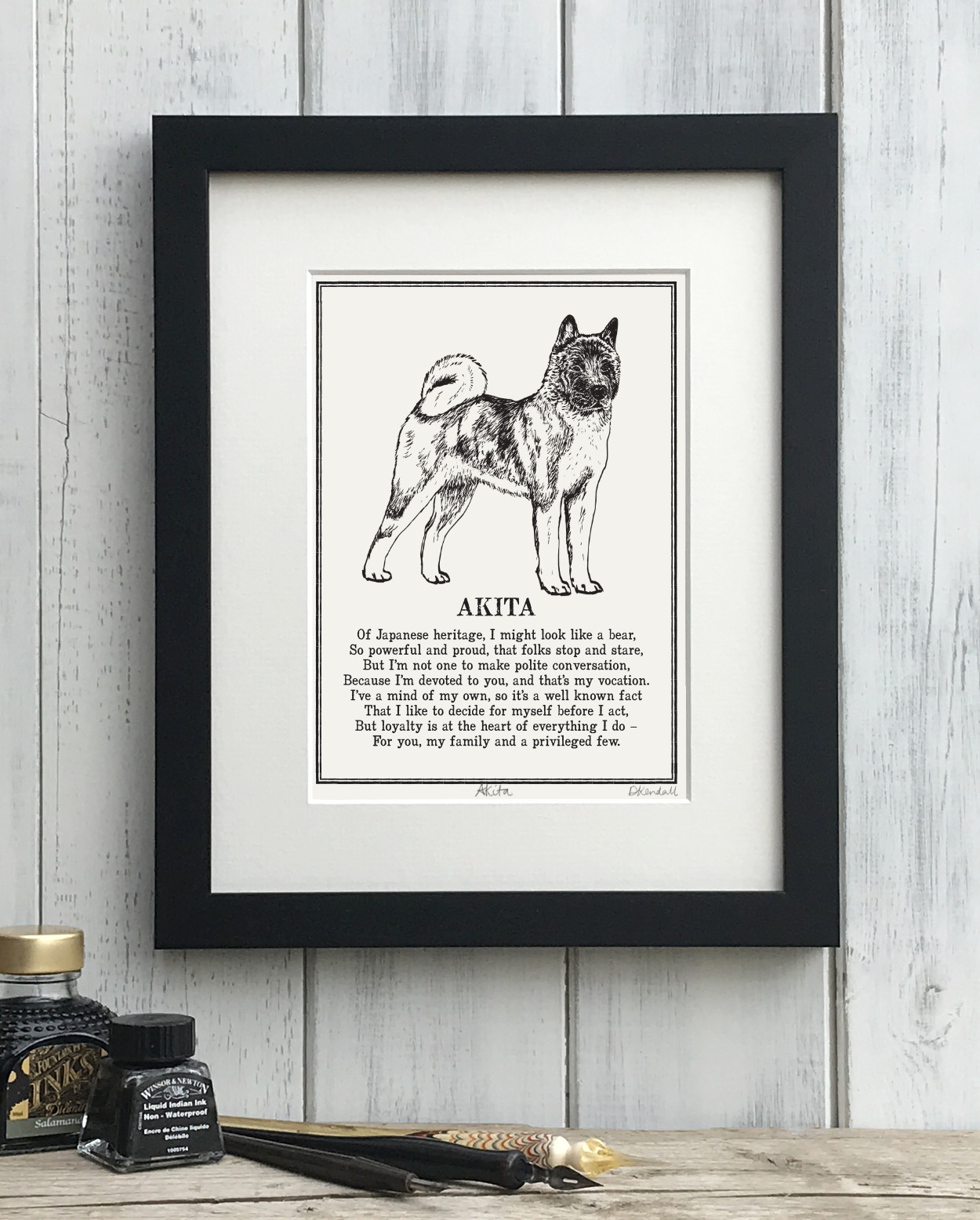 American Akita Doggerel Illustrated Poem Art Print | The Enlightened Hound