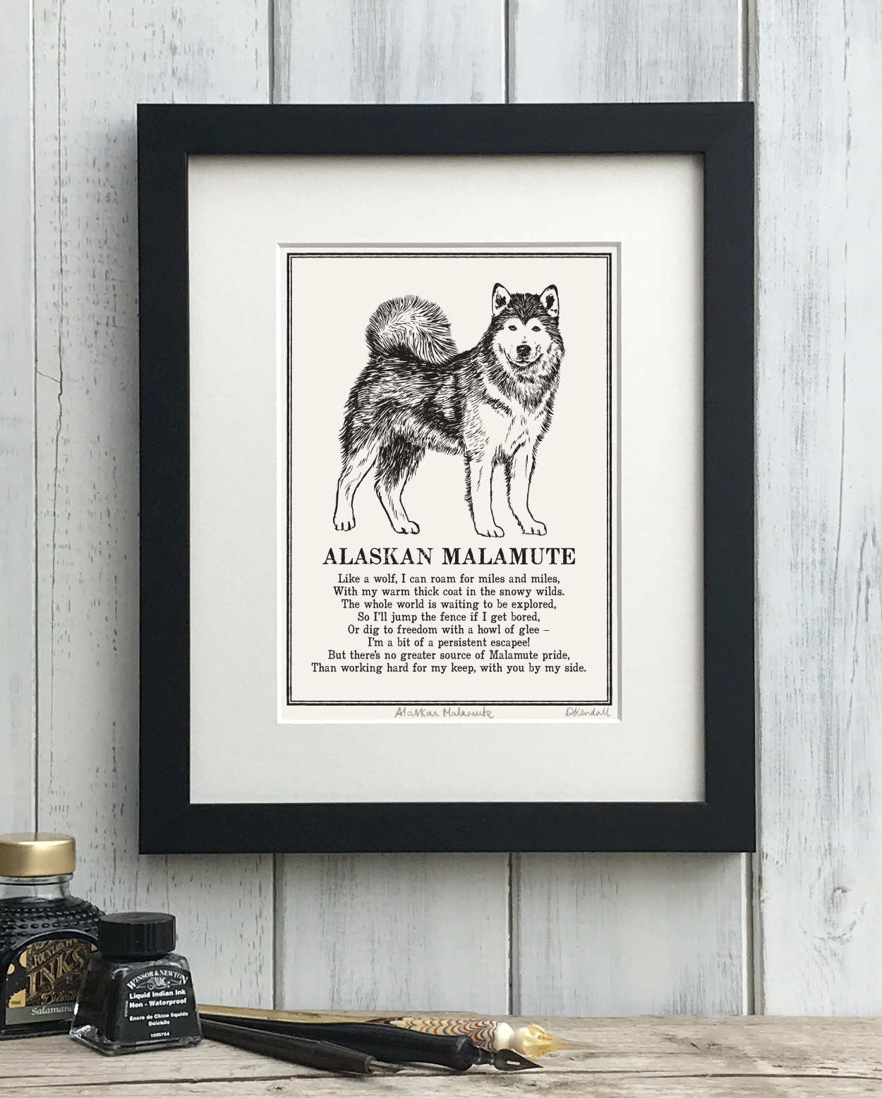 Alaskan Malamute Doggerel Illustrated Poem Art Print | The Enlightened Hound