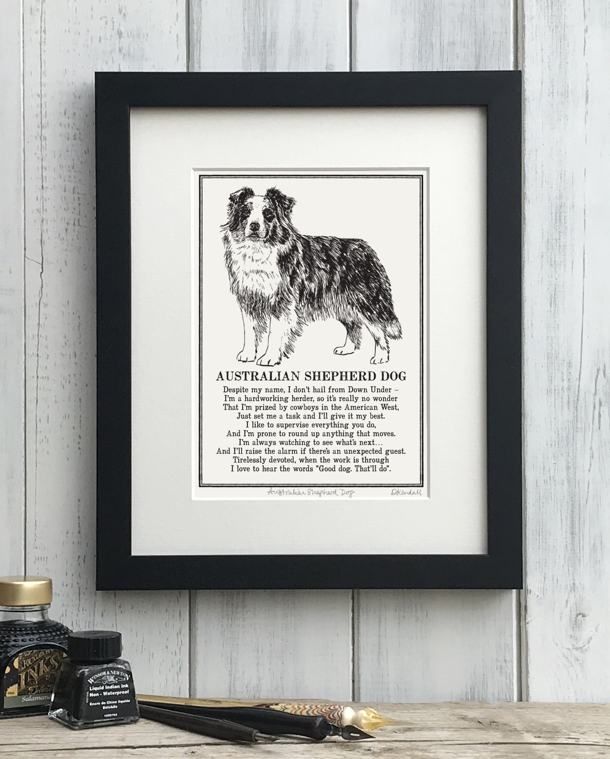 Australian Shepherd Dog Doggerel Illustrated Poem Art Print | The Enlightened Hound
