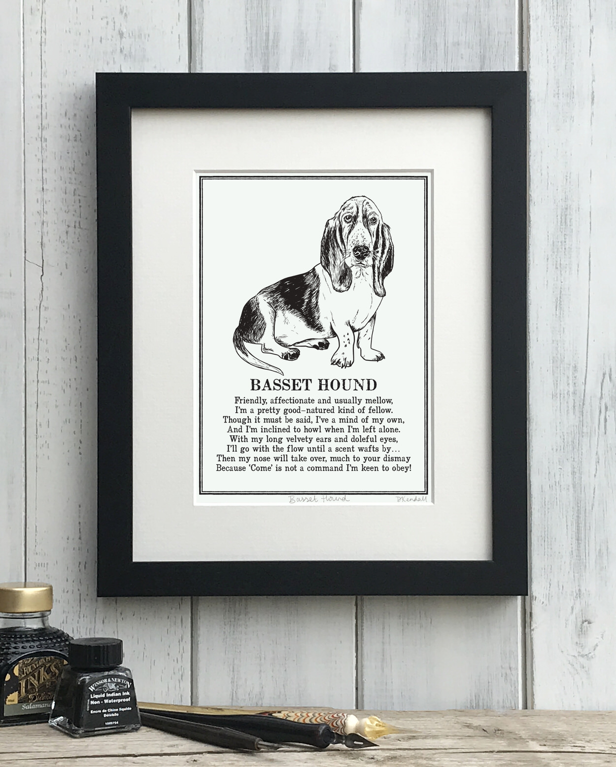 Basset Hound print illustrated poem by The Enlightened Hound