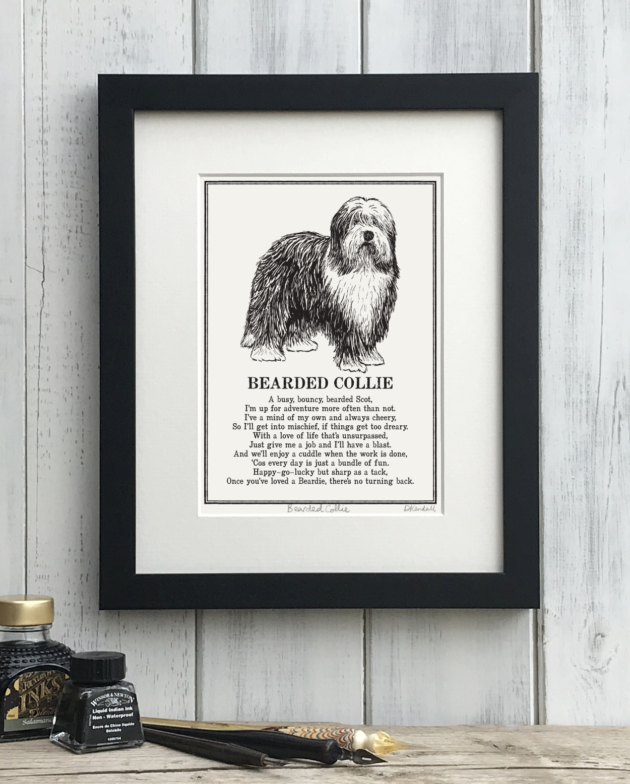 Bearded Collie print illustrated poem by The Enlightened Hound