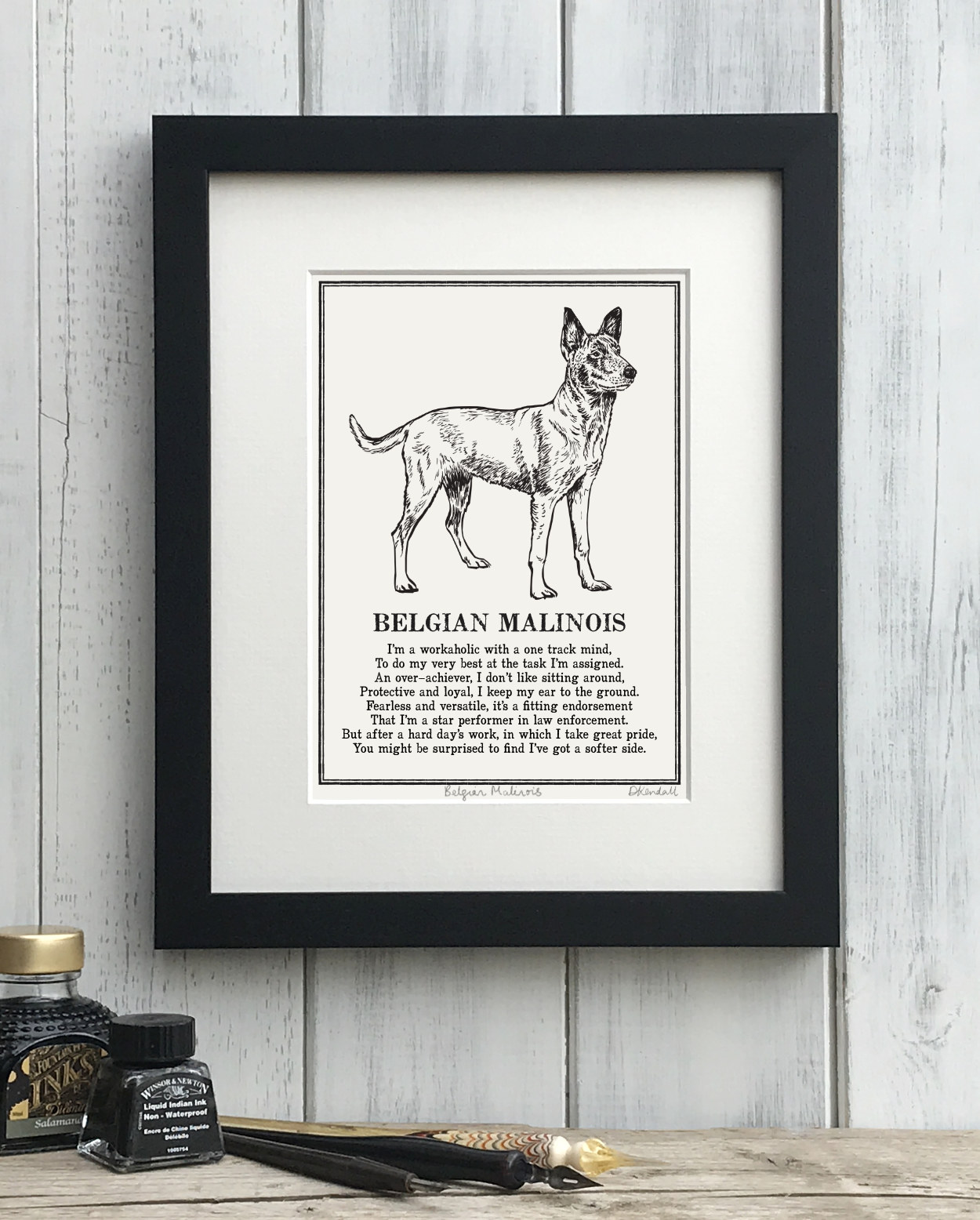 Belgian Malinois Doggerel Illustrated Poem Art Print | The Enlightened Hound