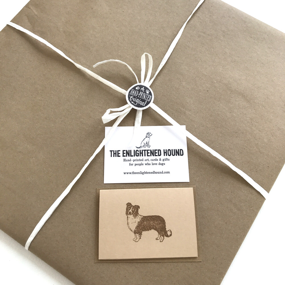 Gift wrapped Border Collie print | The Enlightened Hound