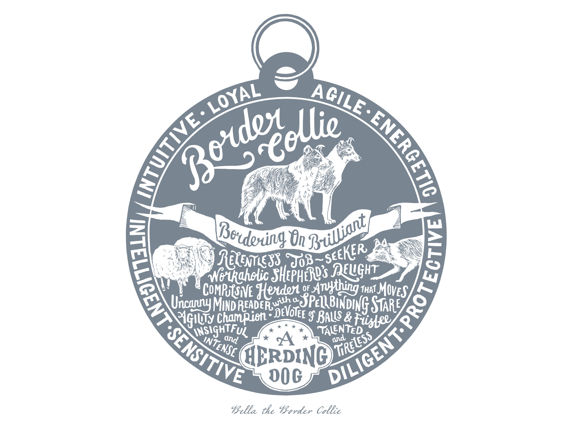 Border Collie Dog Tag Print