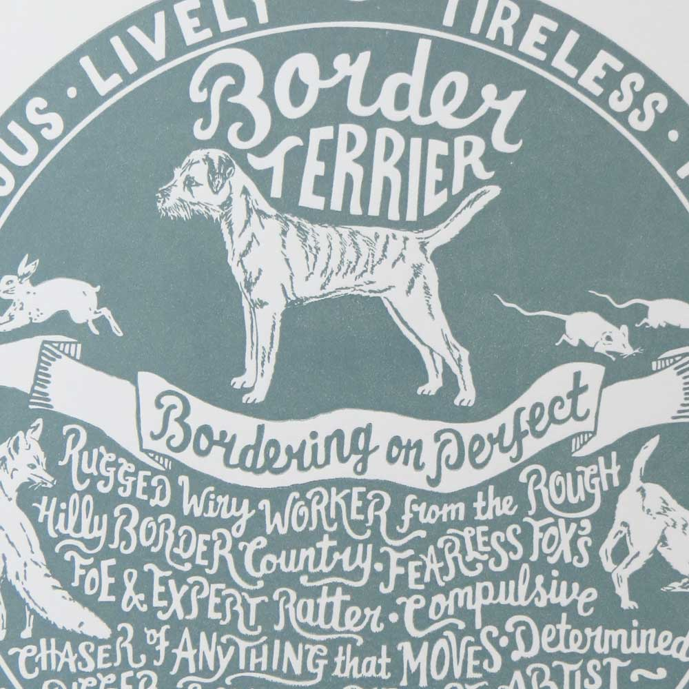 Border Terrier dog art prints - Hand lettering & Illustration by Debbie Kendall