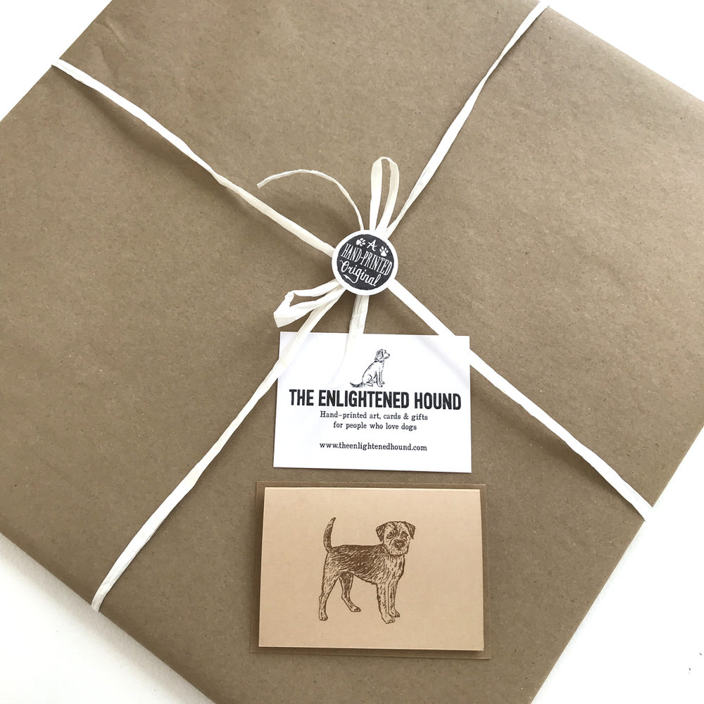 Gift wrapped Border Terrier print | The Enlightened Hound