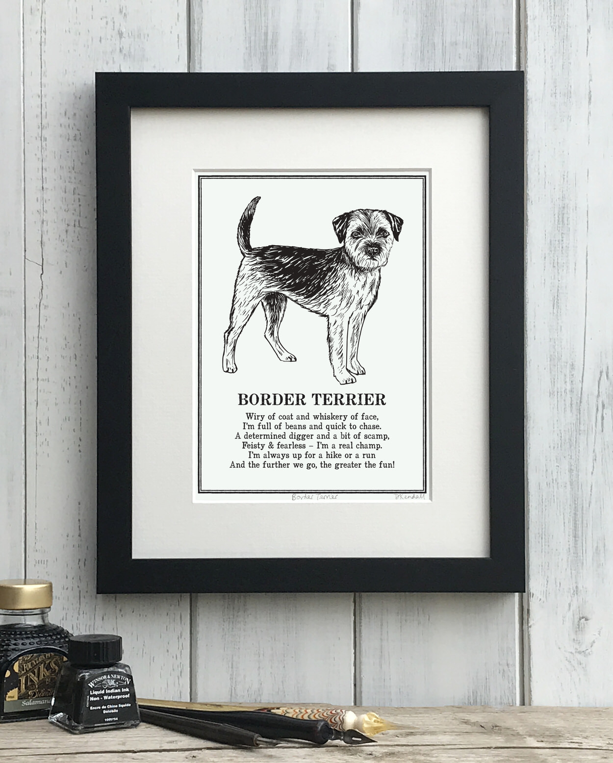 Border Terrier print illustrated poem by The Enlightened Hound