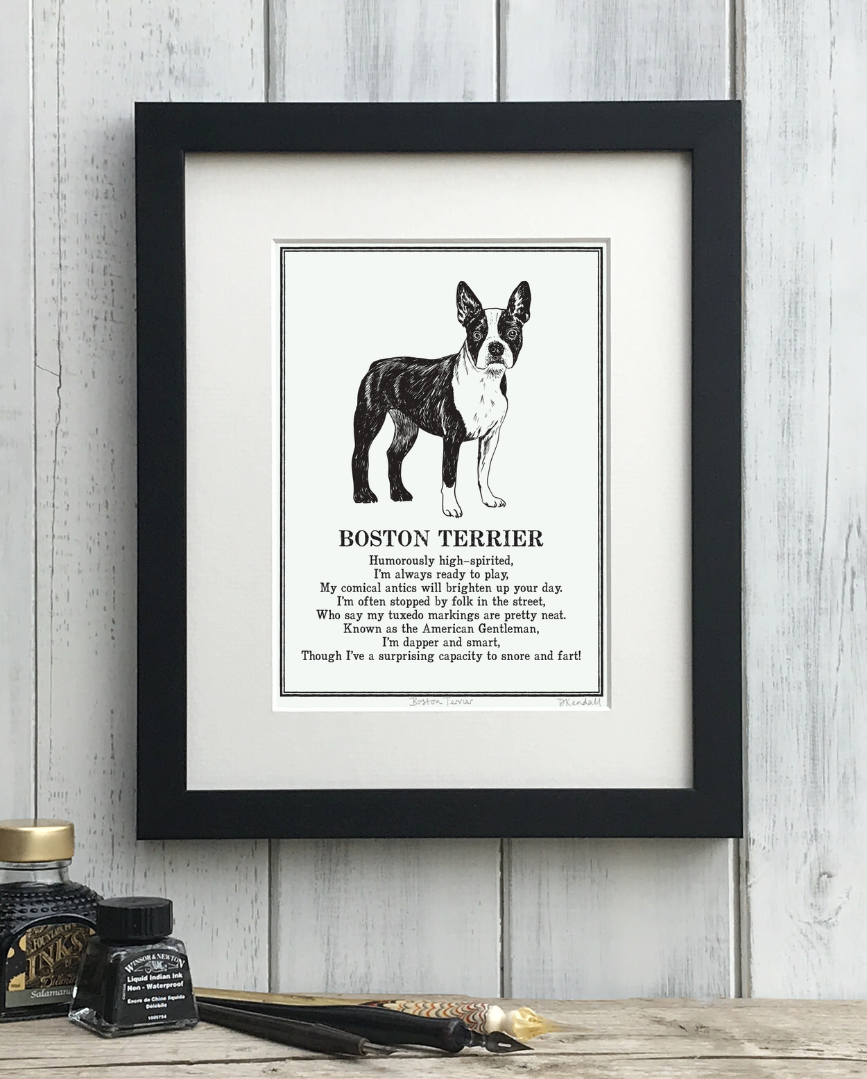 Boston Terrier print illustrated poem by The Enlightened Hound
