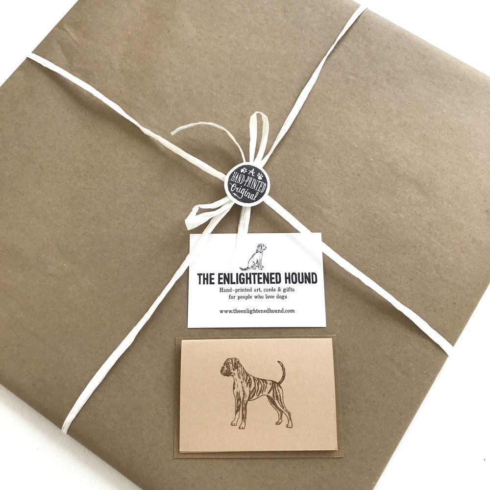Gift wrapped Boxer dog print | The Enlightened Hound
