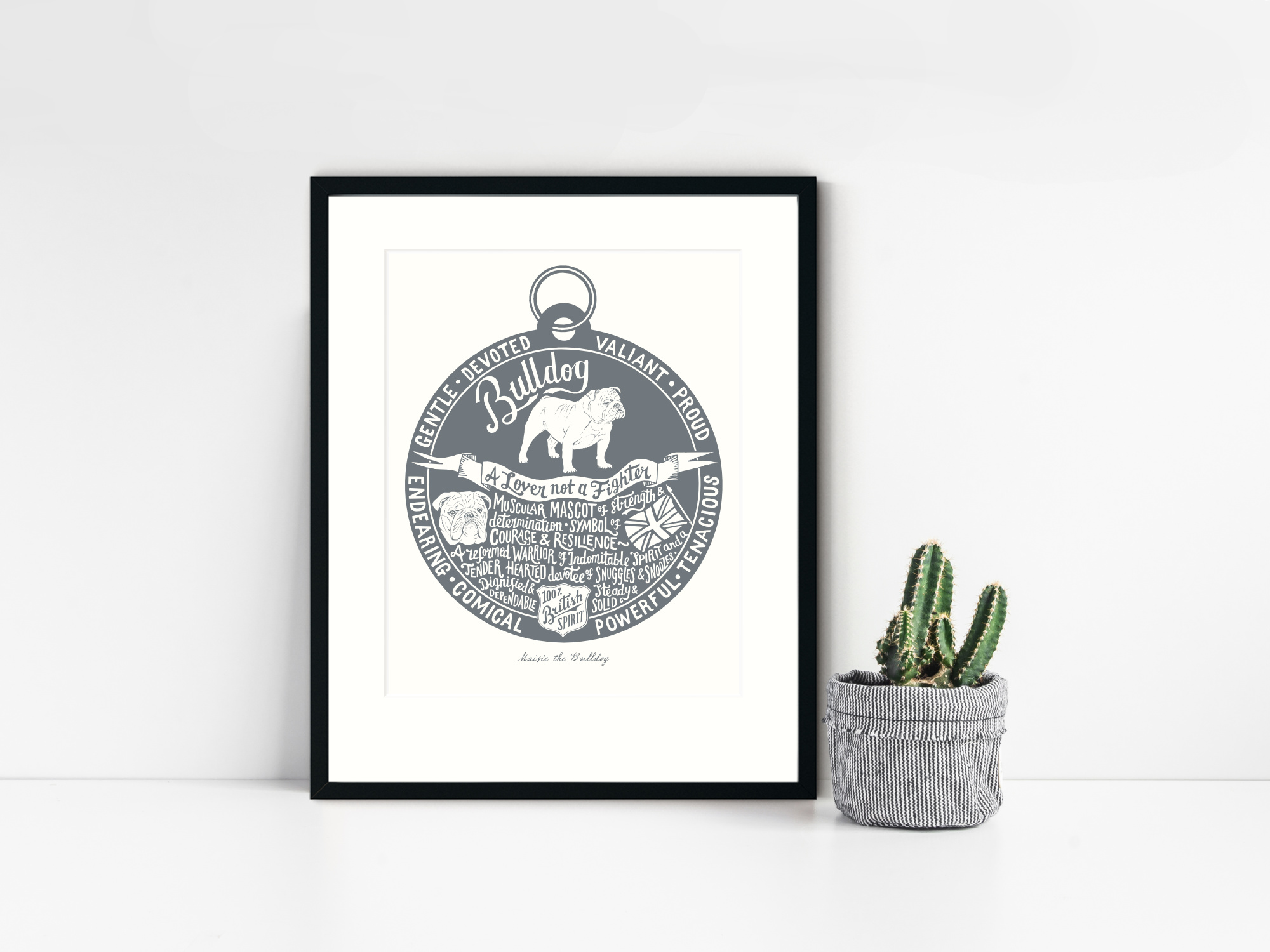 Bulldog lover dog art gifts by The Enlightened Hound