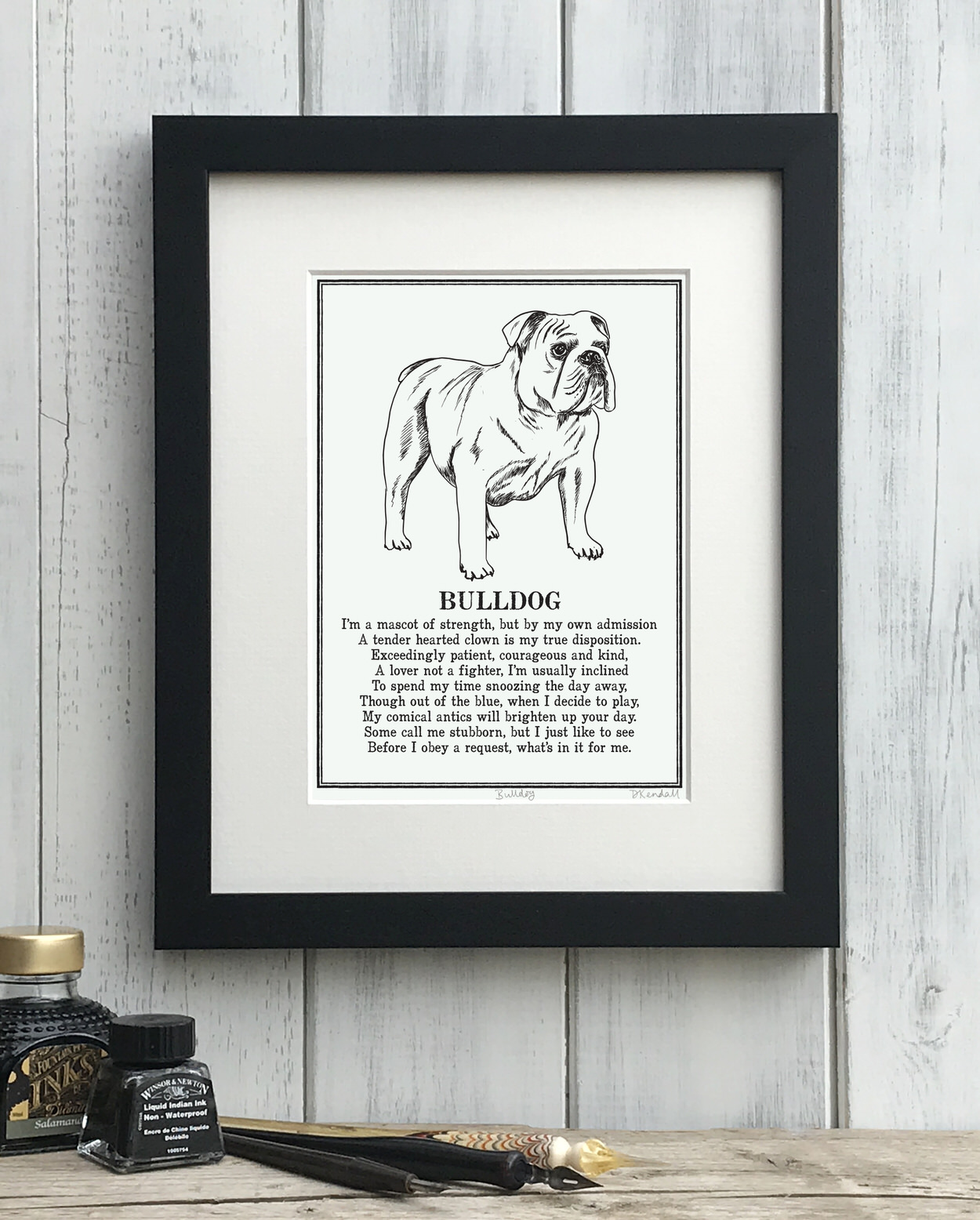 Bulldog print illustrated poem by The Enlightened Hound