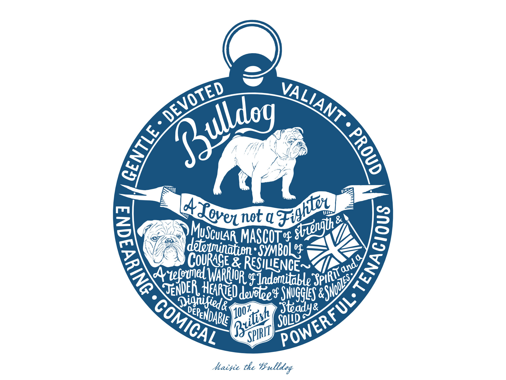 Bulldog print - Hand lettering & Illustration by Debbie Kendall