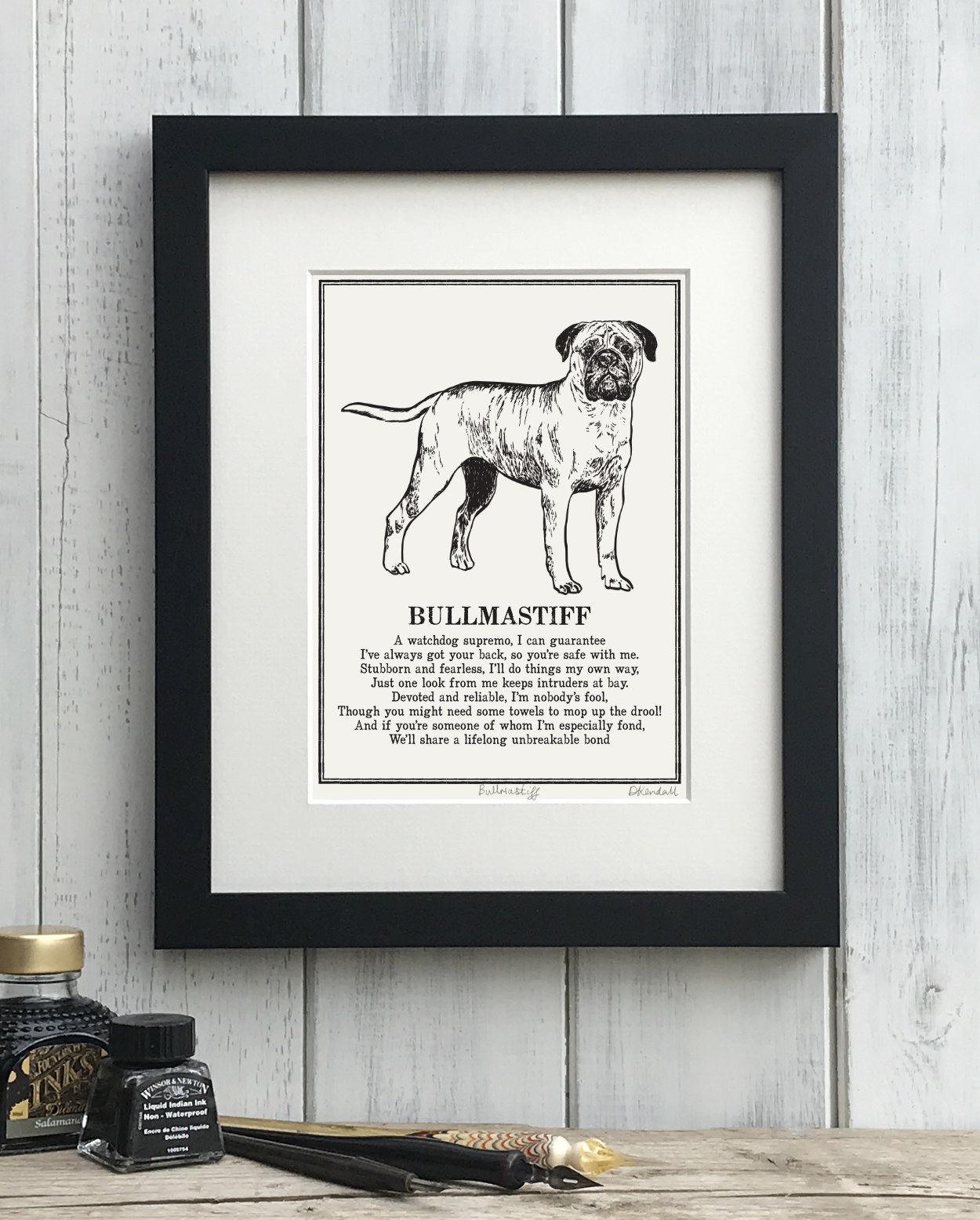 Bullmastiff Doggerel Illustrated Poem Art Print | The Enlightened Hound