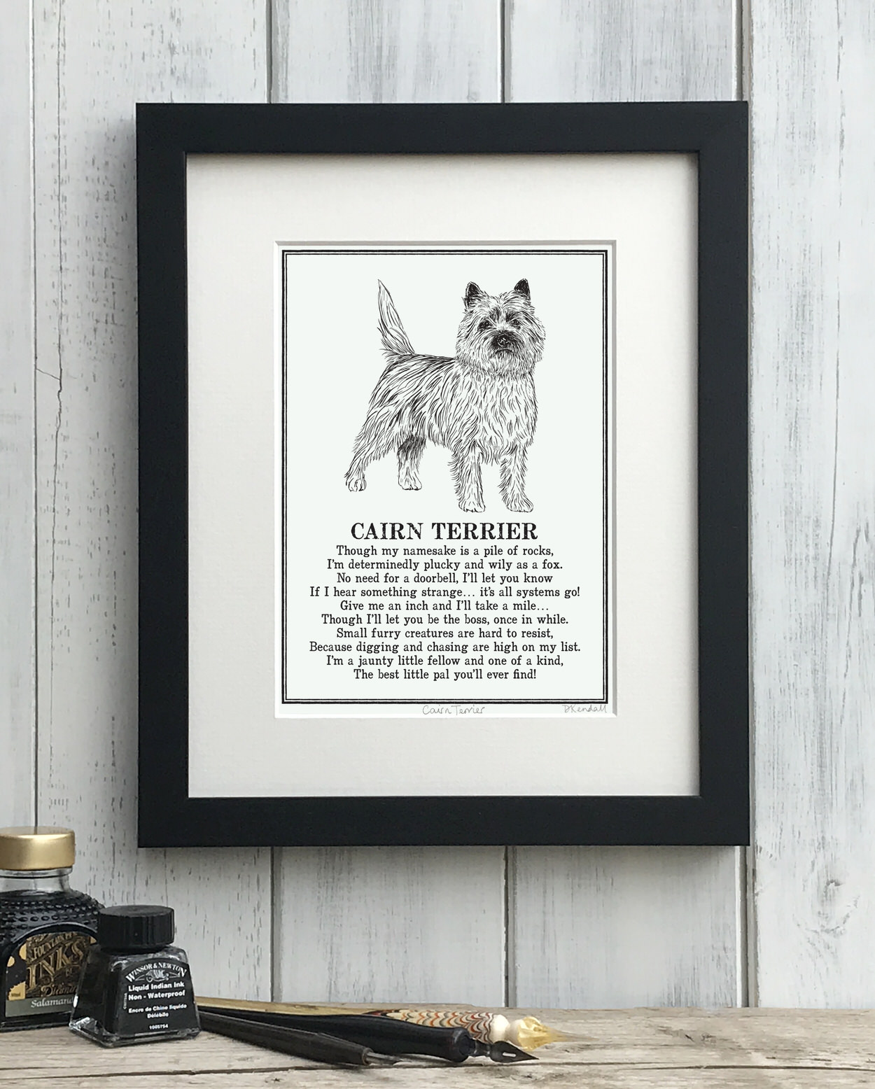 Cairn Terrier print illustrated poem by The Enlightened Hound