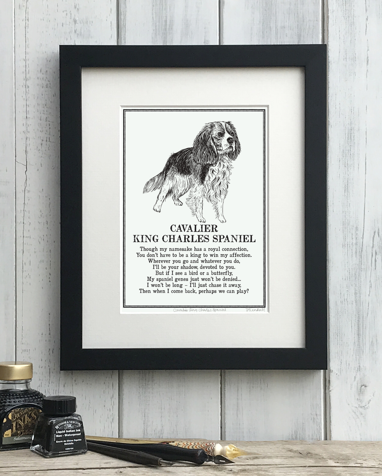 Cavalier King Charles Spaniel print illustrated poem by The Enlightened Hound