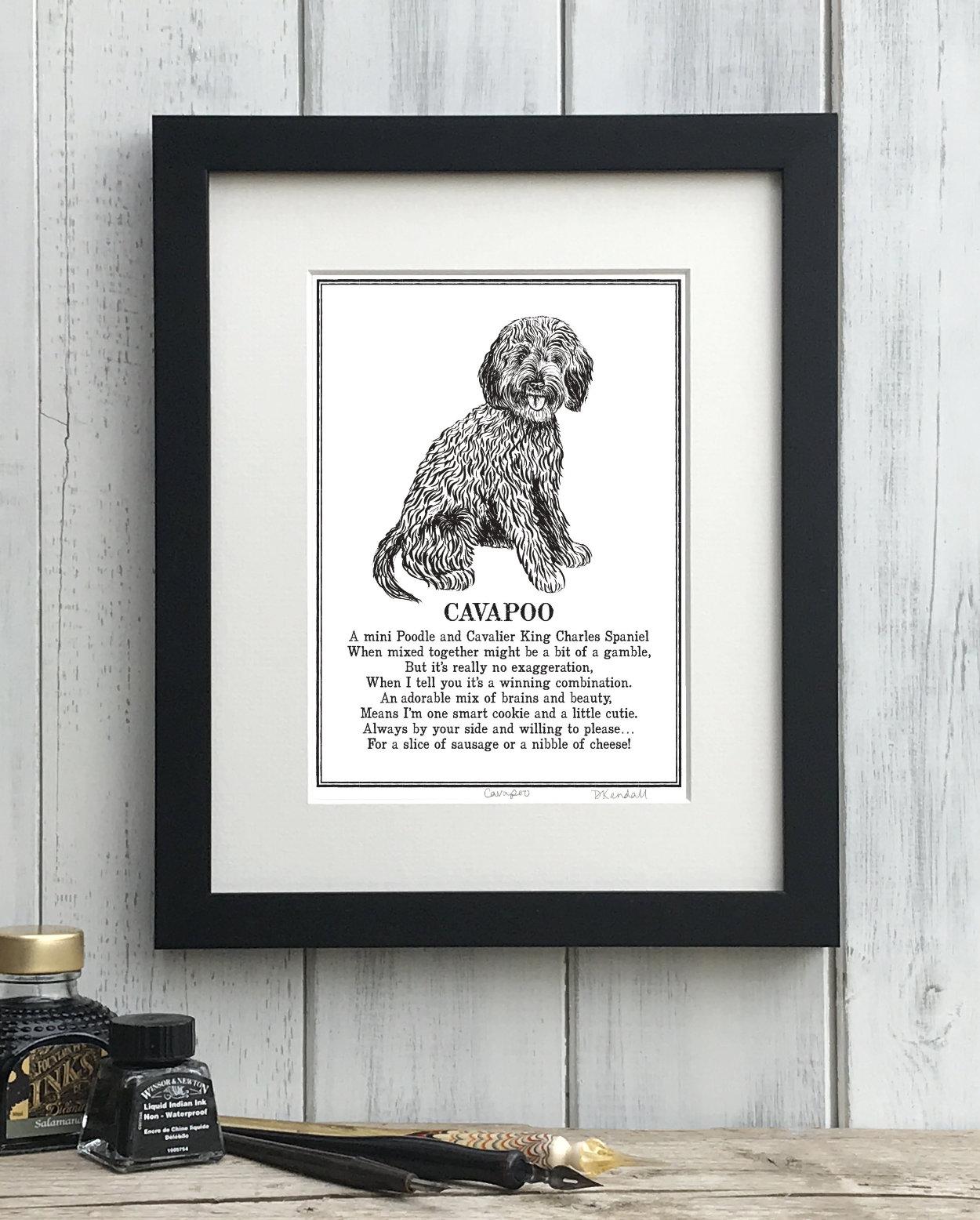 Cavapoo Doggerel Print