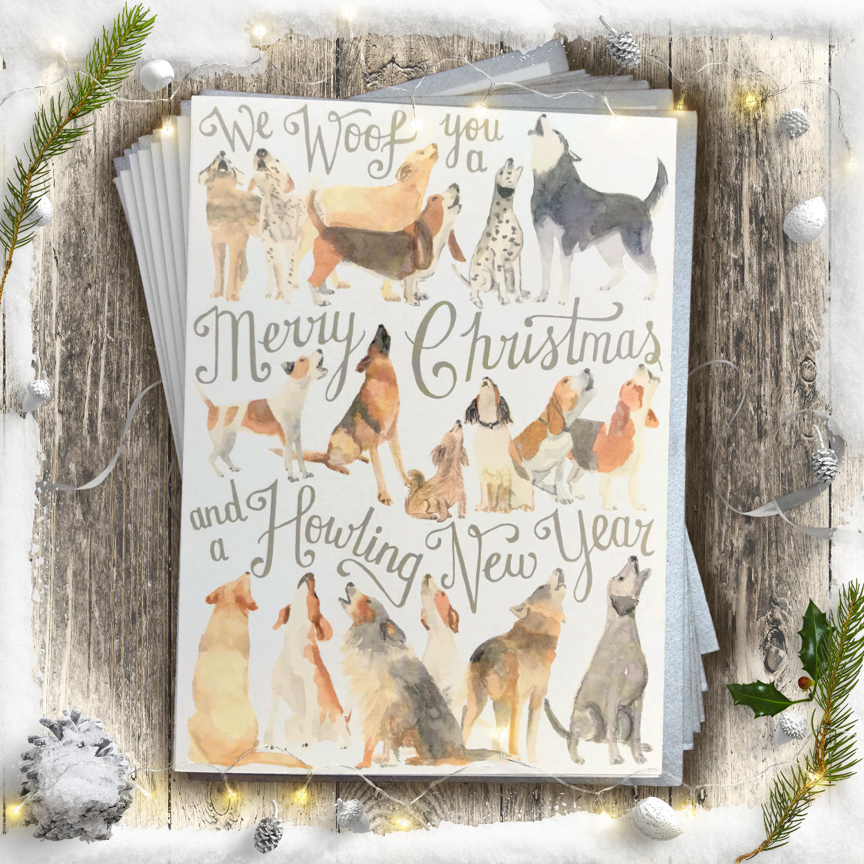 Howling Dogs of Christmas Card PACK OF 10