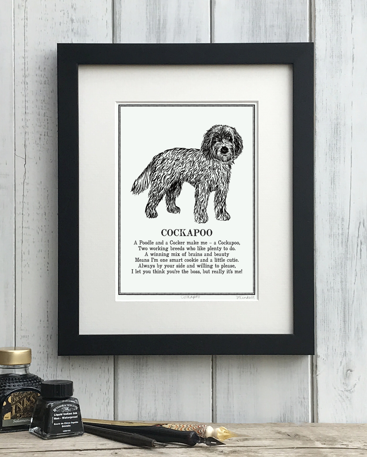 Cockapoo print illustrated poem by The Enlightened Hound