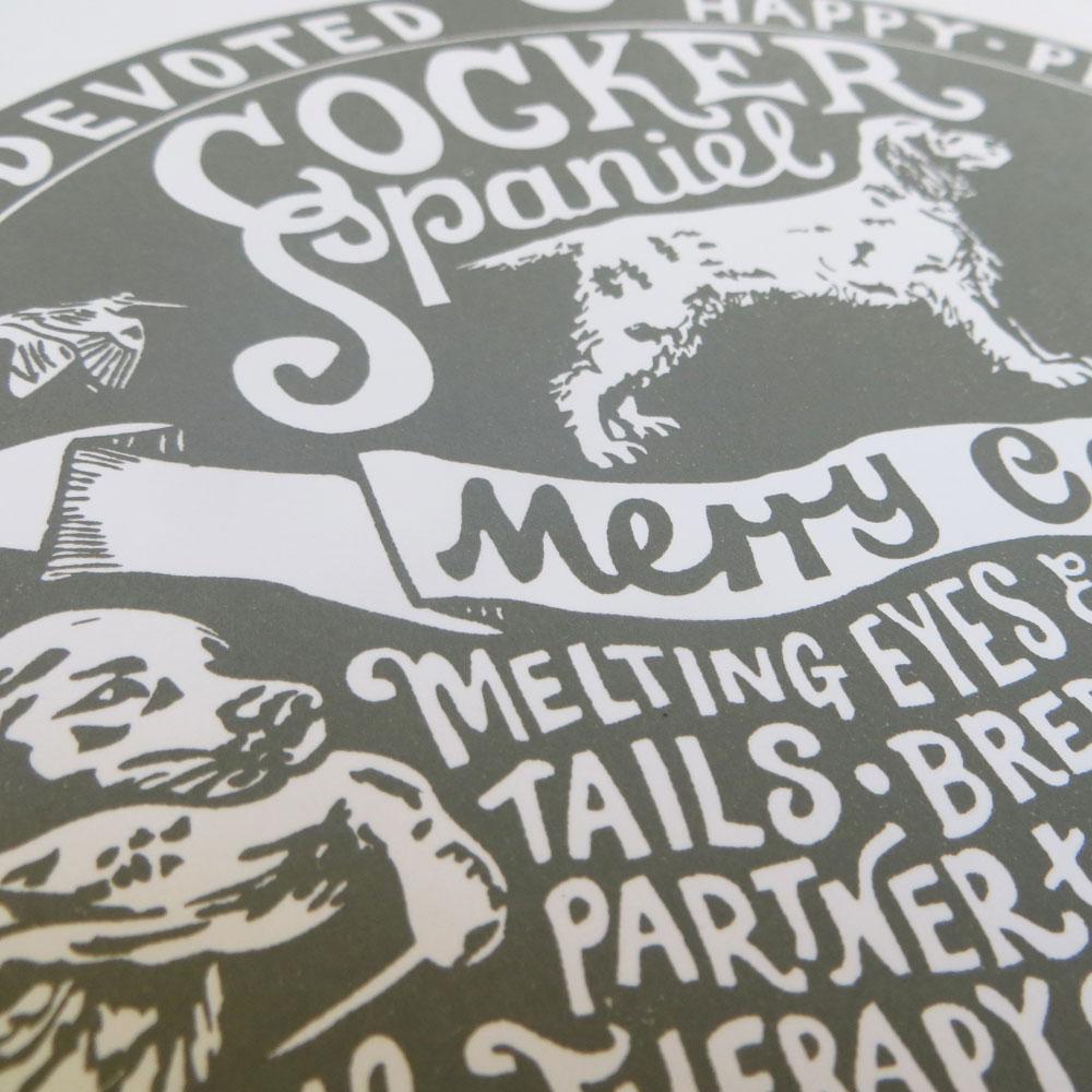 Cocker Spaniel dog art prints - Hand lettering & Illustration by Debbie Kendall