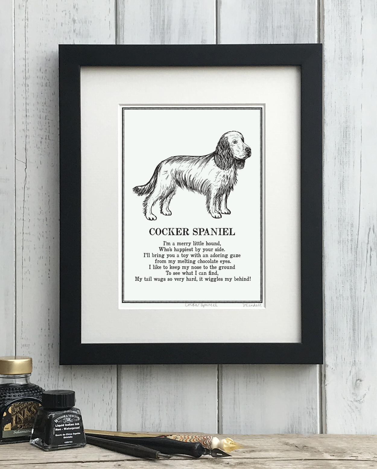 Cocker Spaniel print illustrated poem by The Enlightened Hound