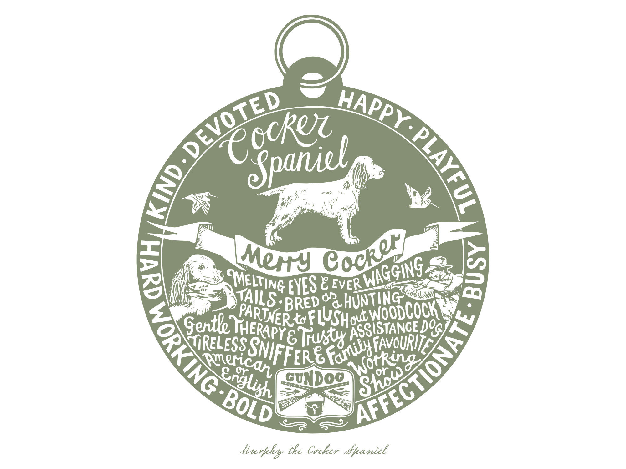 Cocker Spaniel Dog Tag Print
