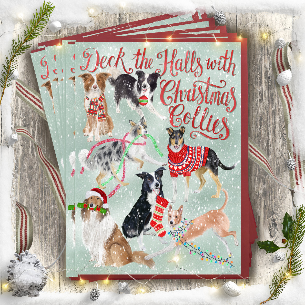 Collie Dog Christmas Card | The Enlightened Hound