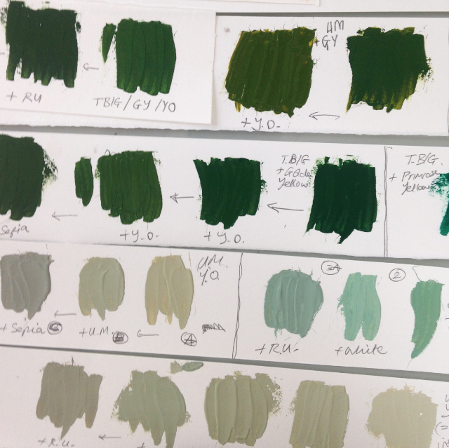 Printmaking ink colour recipe strips | The Enlightened Hound