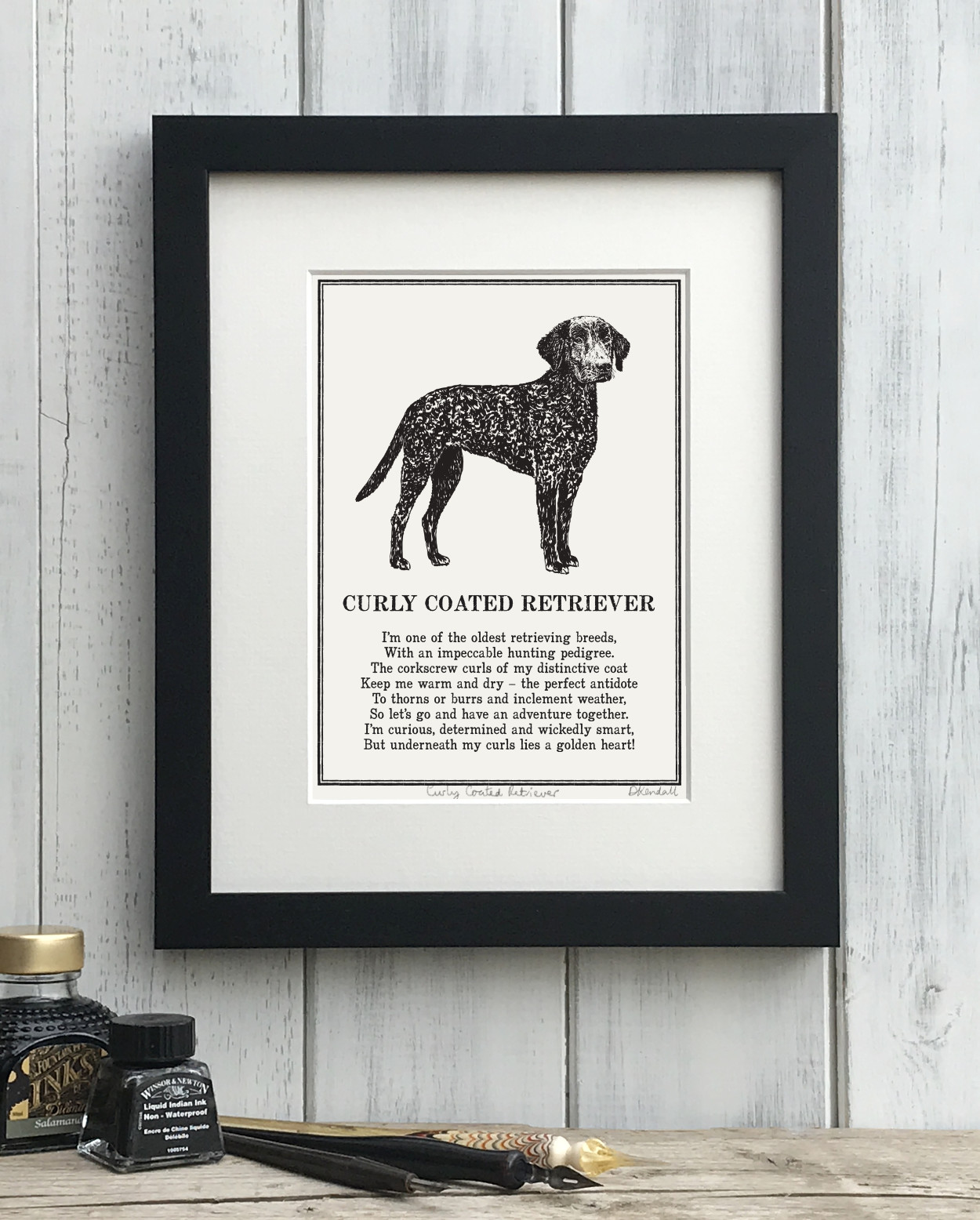Curly Coated Retriever Doggerel Illustrated Poem Art Print | The Enlightened Hound