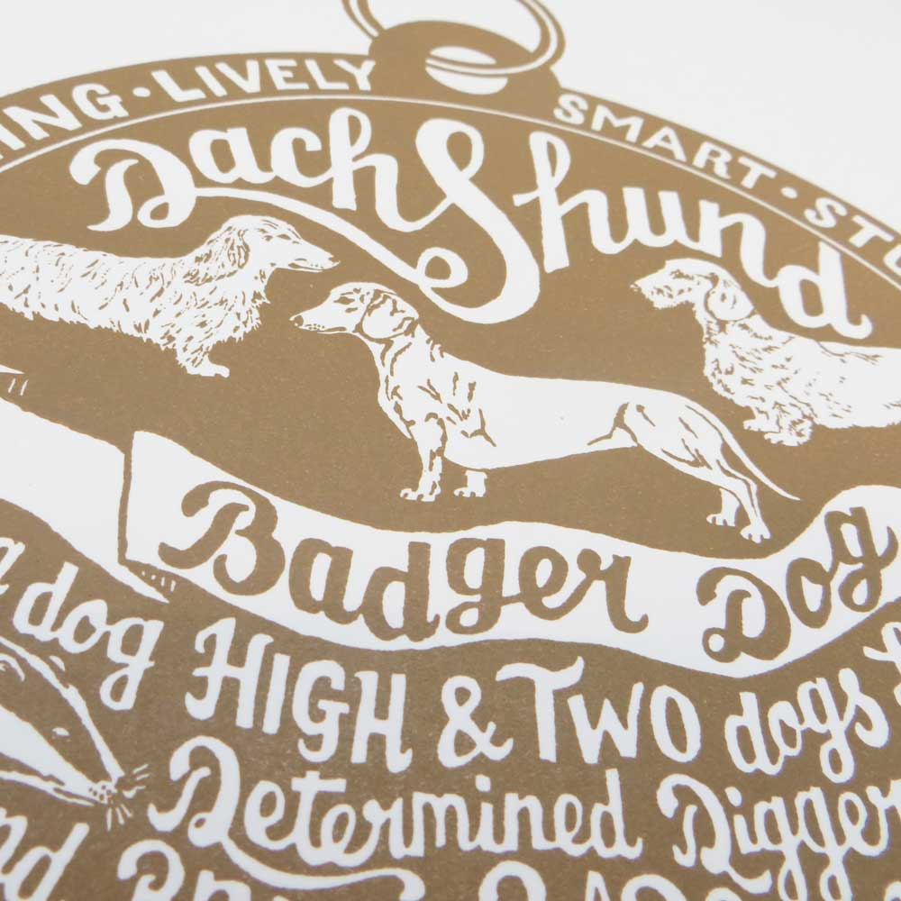 Dachshund dog art prints - Hand lettering & Illustration by Debbie Kendall