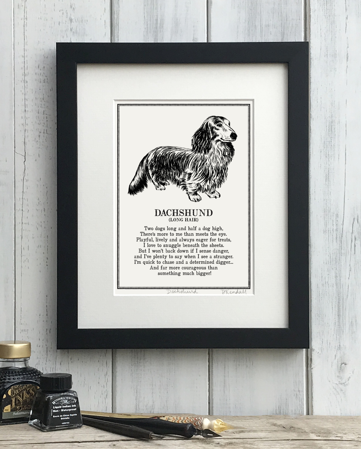 Long Haired Dachshund print illustrated poem by The Enlightened Hound