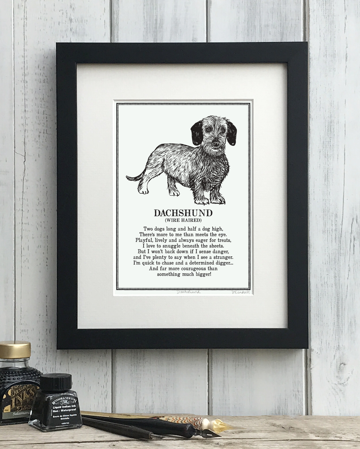 Wire Haired Dachshund print illustrated poem by The Enlightened Hound