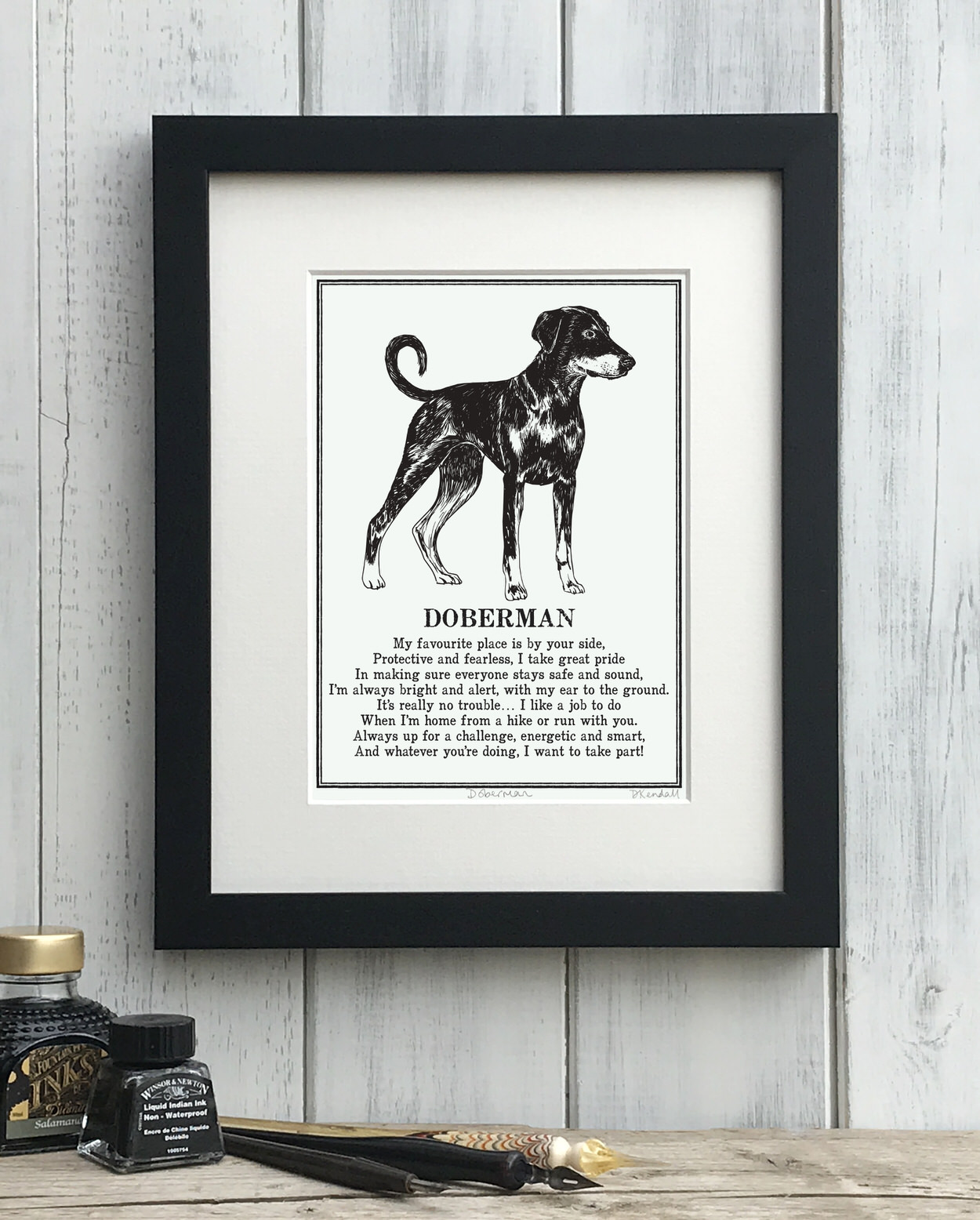 Doberman print illustrated poem by The Enlightened Hound