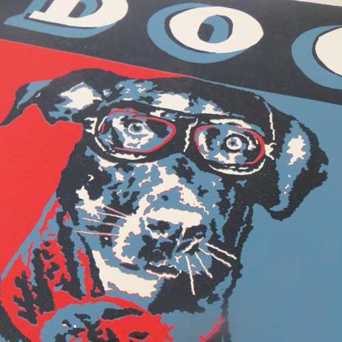Dog Art Original Reduction Linoprint - The Enlightened Hound
