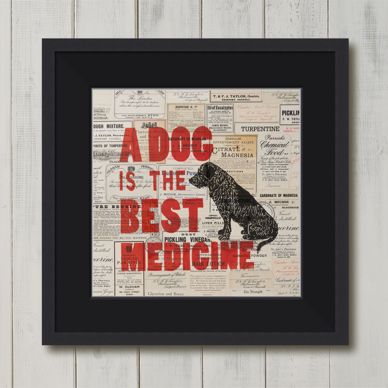 Dog is the Best Medicine Limited Edition Linoprint & Collage | The Enlightened Hound