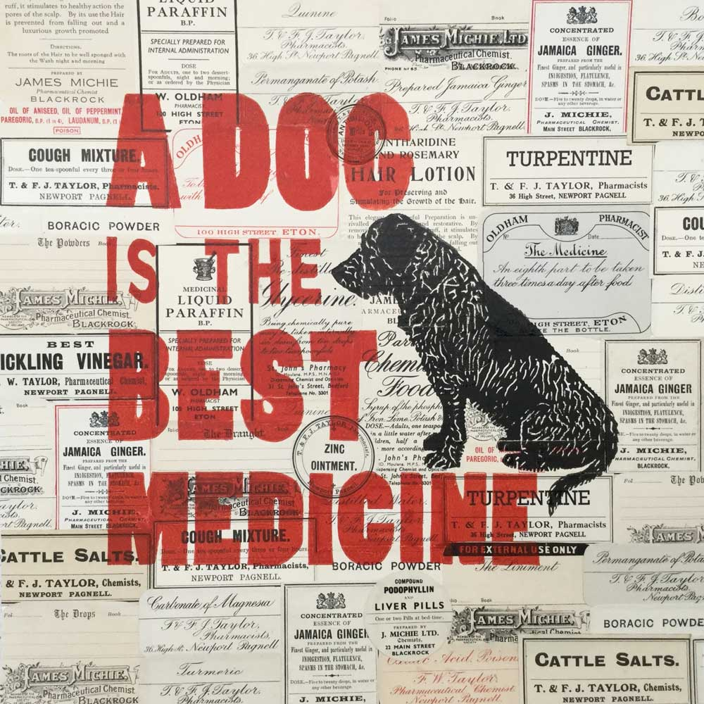A Dog is the Best Medicine Linoprint & Collage