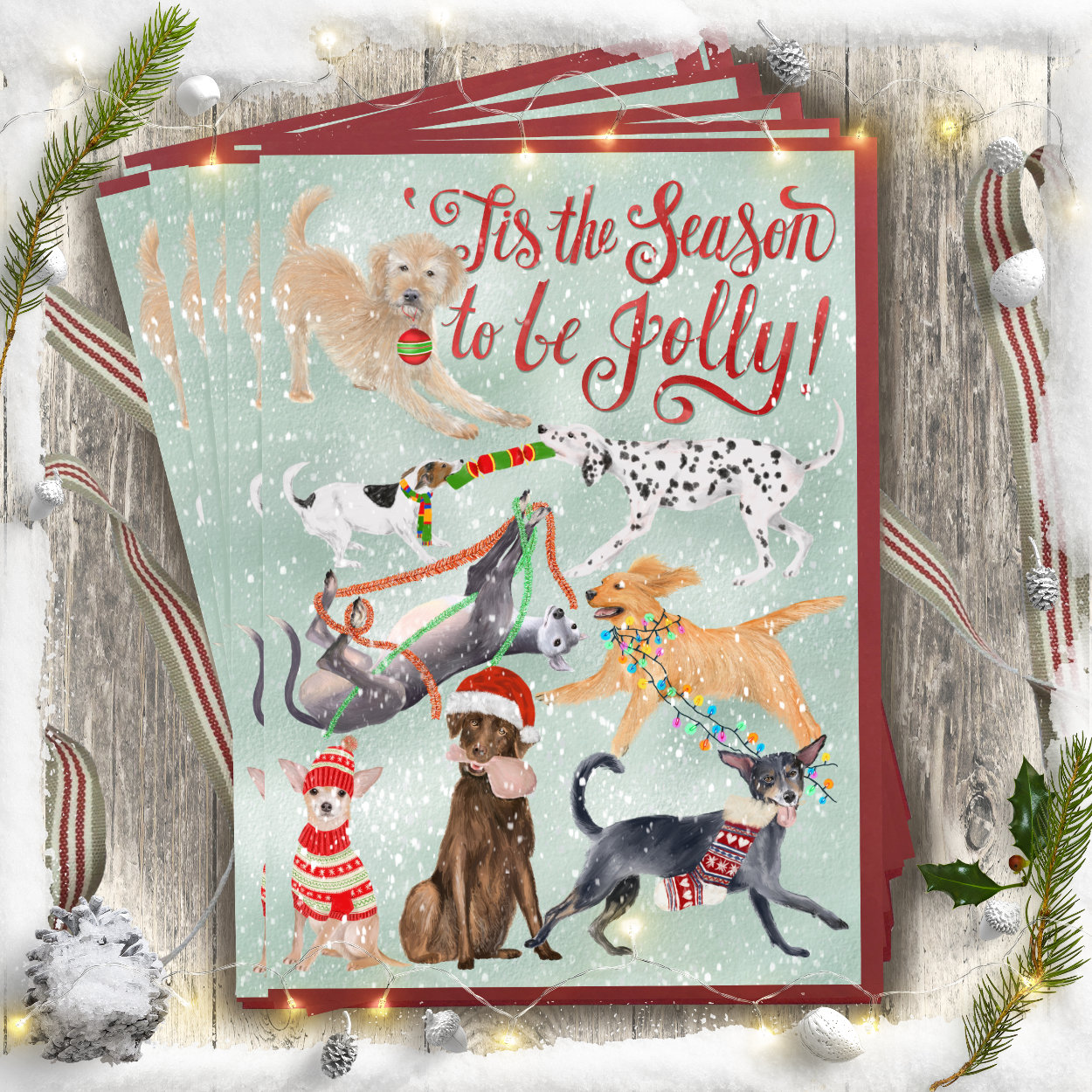 Tis the Season Dog Christmas card | The Enlightened Hound