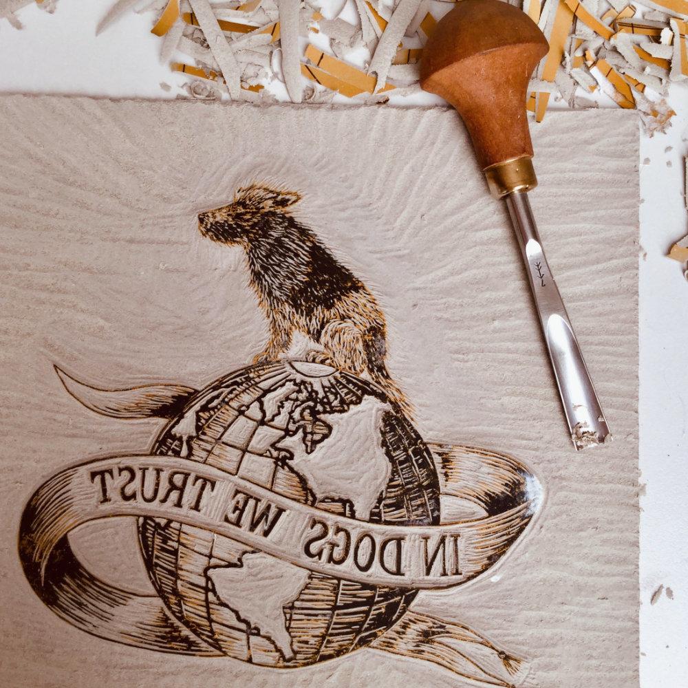 Linoprint carved plate dog globe | The Enlightened Hound