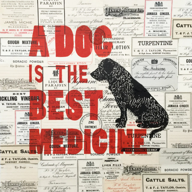 Dog vintage style collage linoprint | The Enlightened Hound