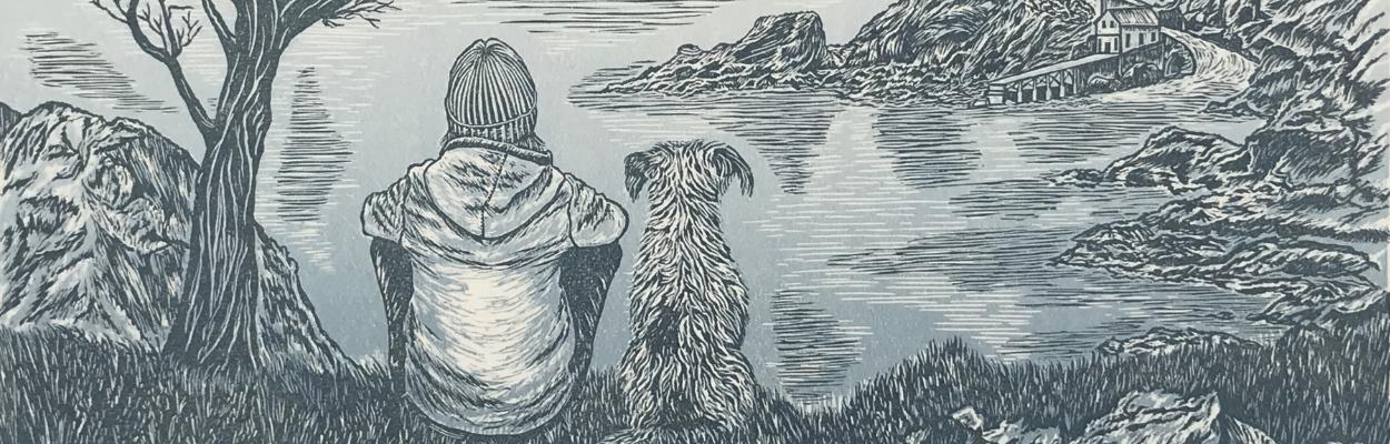 Who Rescued Who Linoprint | Debbie Kendall Printmaker