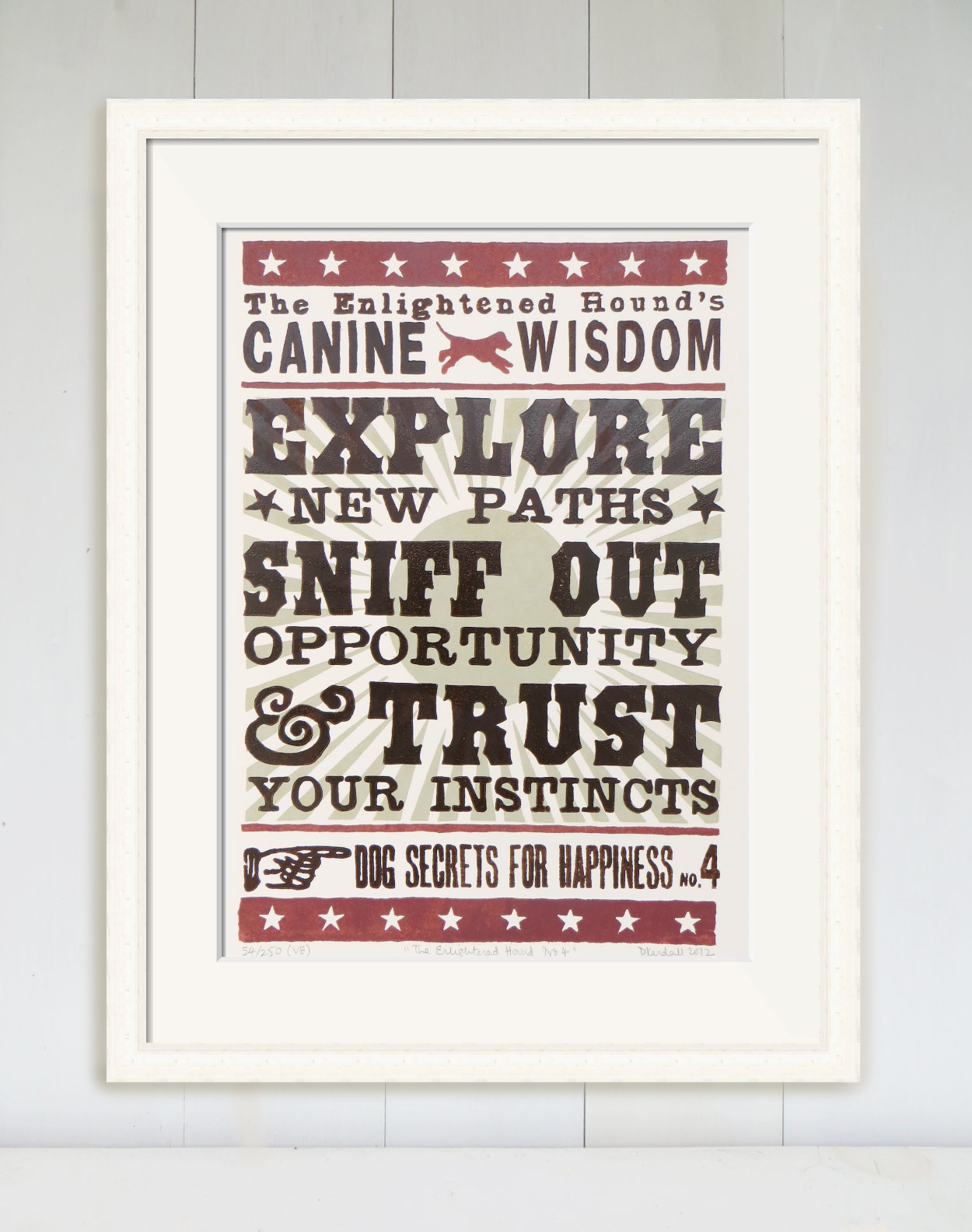 Dog Lover Linoprint Inspirational Quote | The Enlightened Hound
