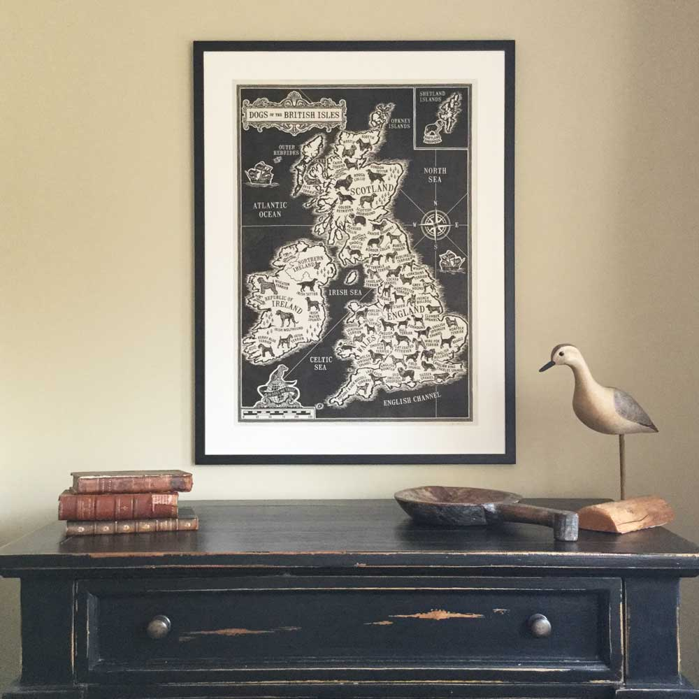 Framed Dogs of the British Isles Map Print  |The Enlightened Hound