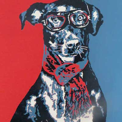 Dog is my Co-Pilot Linoprint by Debbie Kendall
