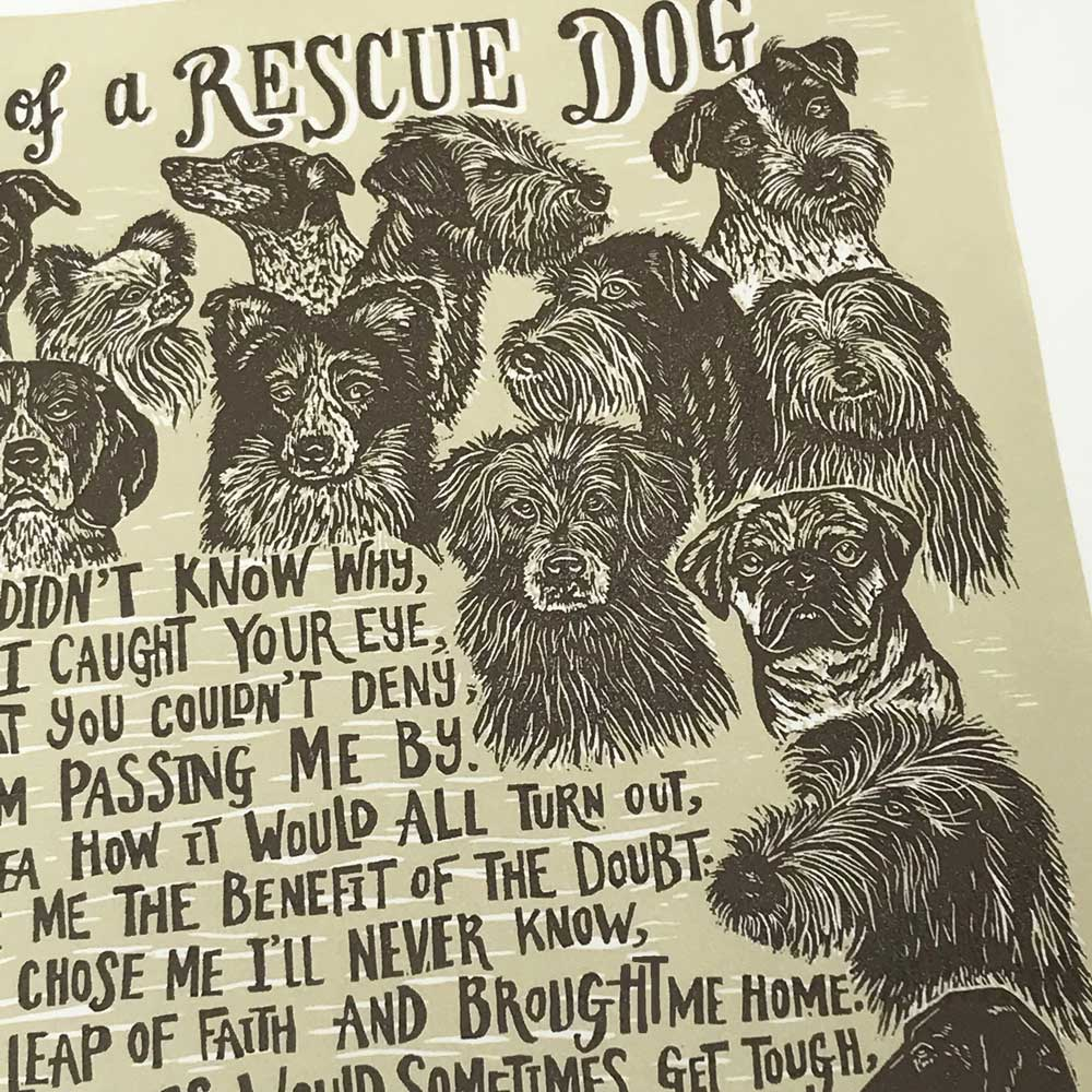 Dog Rescue original art print by Debbie Kendall