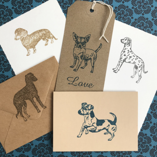Dog rubber stamp stationery   The Enlightened Hound