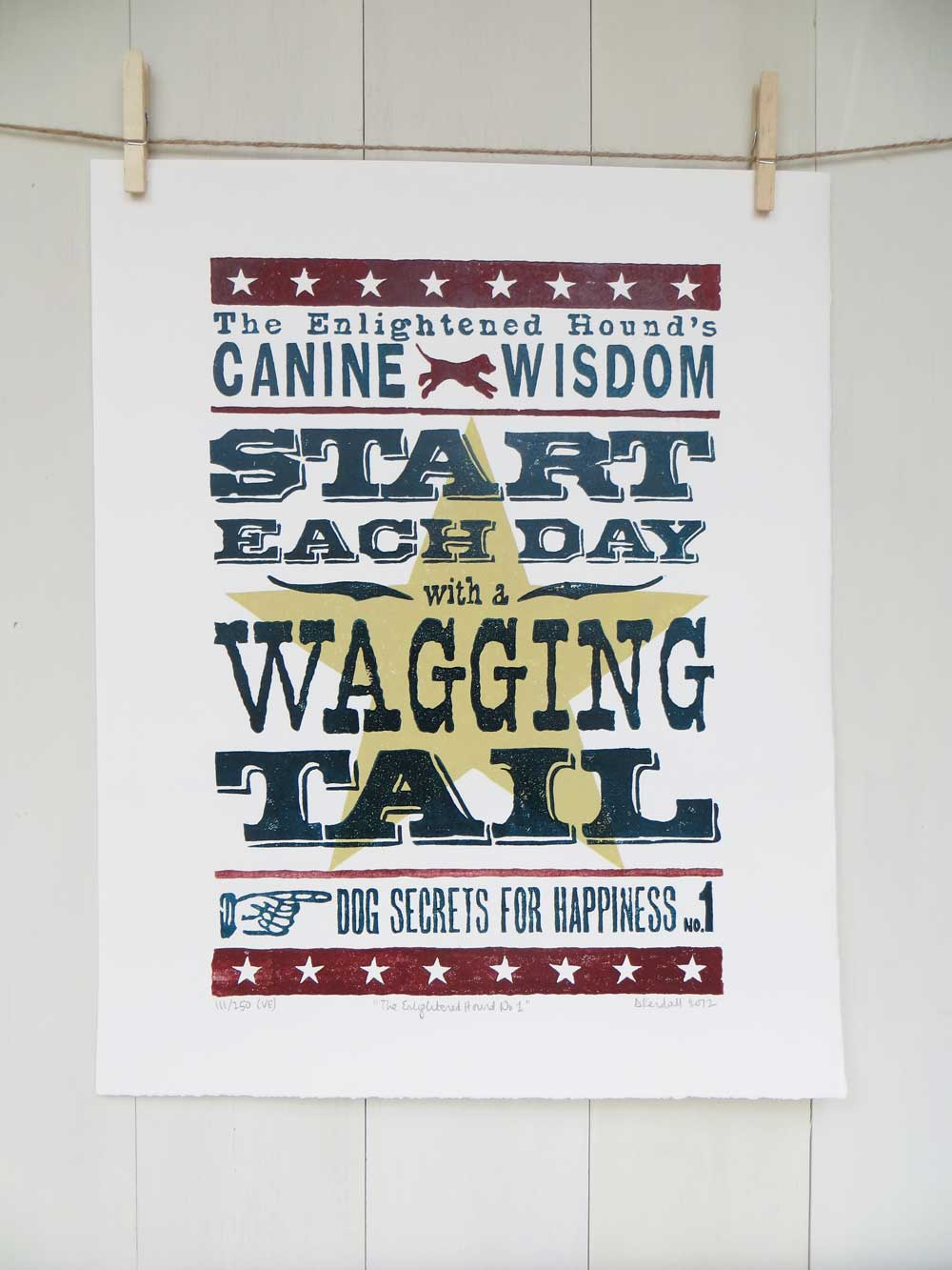 Canine Wisdom Wagging Tail Limited Edition Linoprint | The Enlightened Hound
