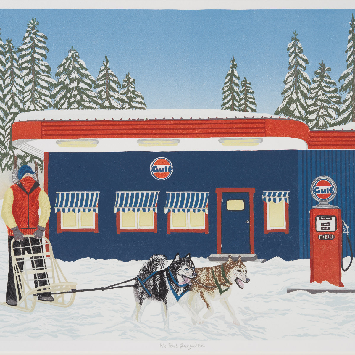 No Gas Required Dog Sled Musher Print | Enlightened Hound