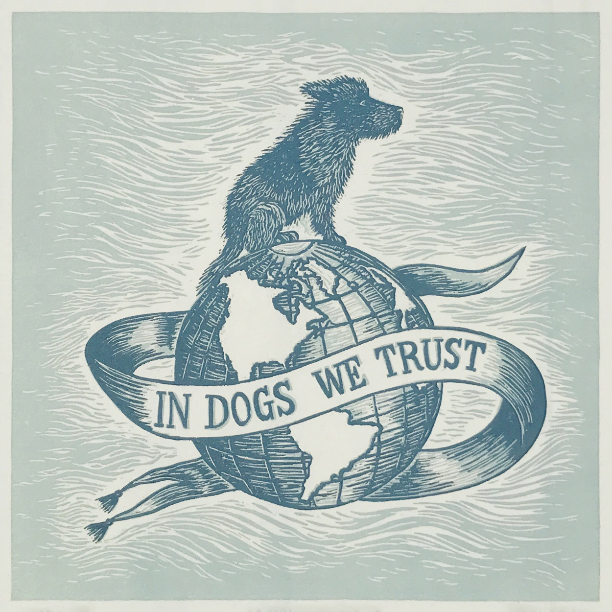 In Dogs We Trust Hand-printed Linoprint Art | The Enlightened Hound